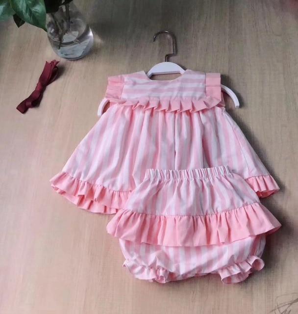 2PCS Girl Summer Pink Dress Set Cute England Europe Stripe Dress Vintage Spanish Dress for Baby Girls 100% Quality Cotton