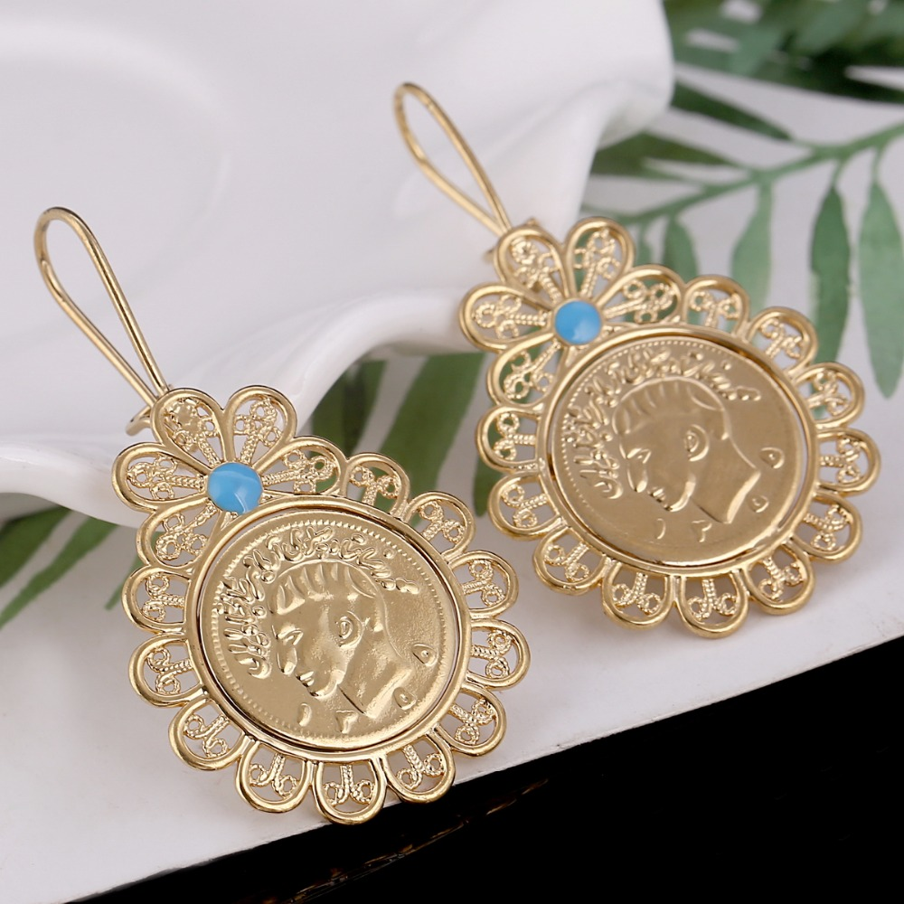 Iran Coin Earrings For Women Gold Color Jewelry Earring Iranian Jewelry Arab Coins Middle East Jewelry