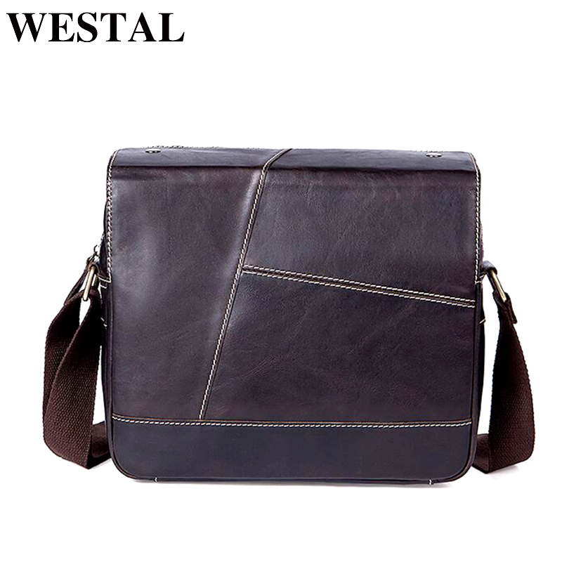 WESTAL Genuine Leather men bags Crossbody bags Messenger small men Leather bag male cowhide flap bag Shoulder Handbags 7210 new style alligator genuine leather small messenger bags for men crossbody bag cowhide men single shoulder bag male handbags
