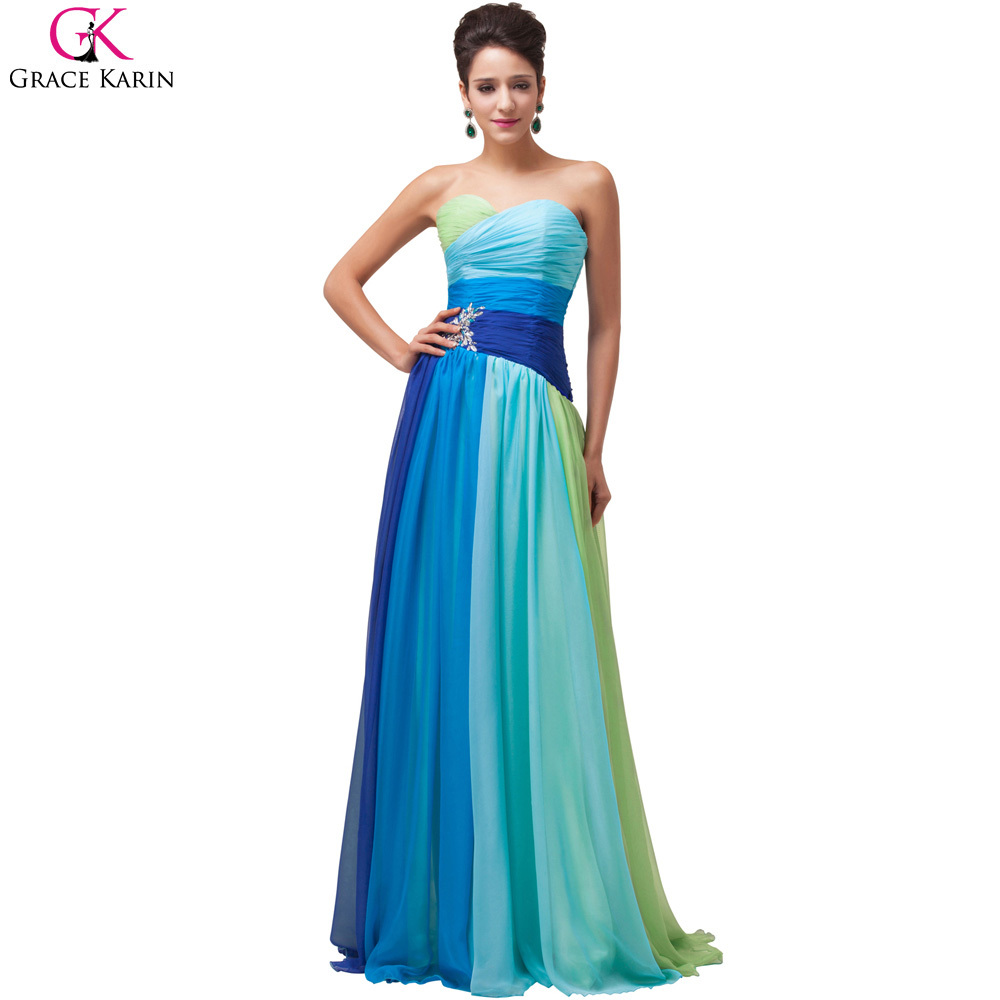 Plus Size Evening Dress Party Ombre Colorful Grace Karin Beaded Blue ...