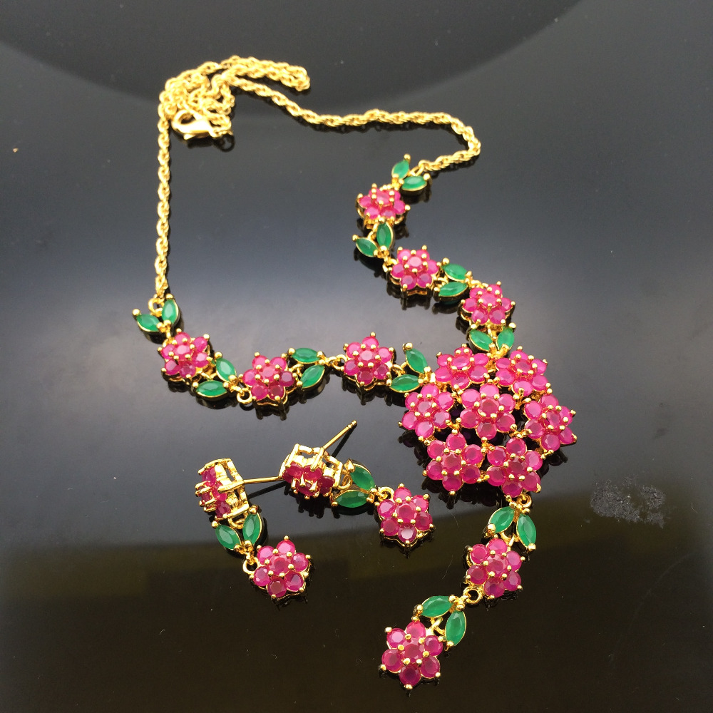 Fashion wedding bridal jewelry necklace earrings for women flowers necklace marriage Red zircon jewelry