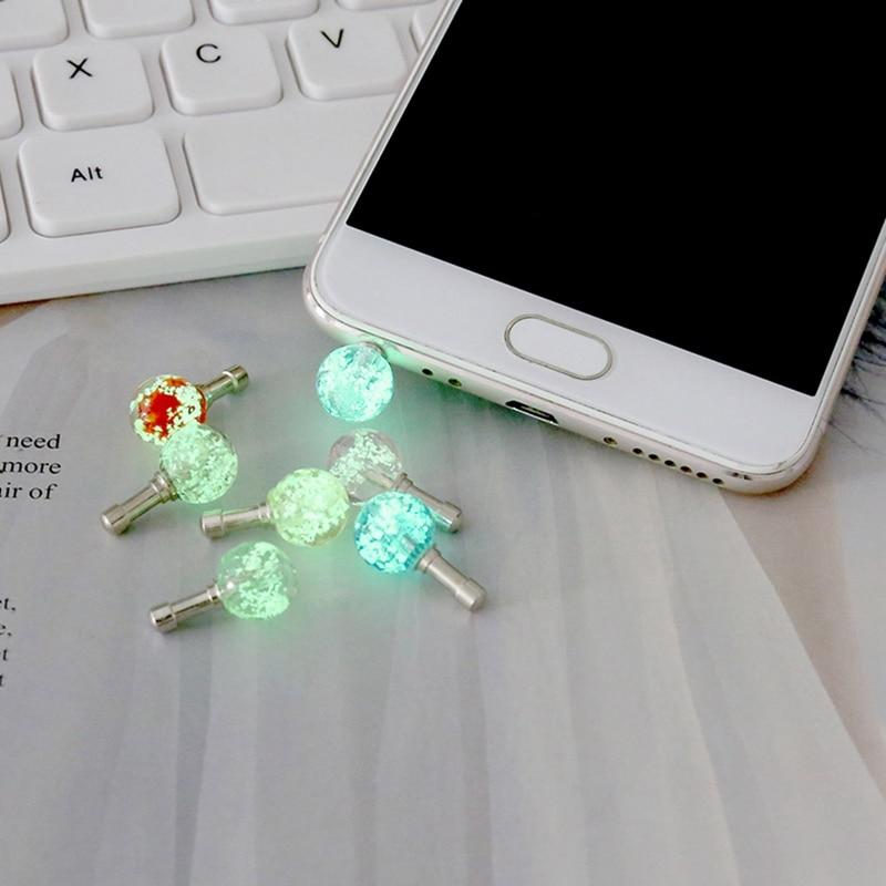 3.5mm Earphone Port Dust Plug Luminous Night Light Headset Headphone Stopper Mobile Phone Audio Dustproof for Tablet