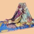 "Huajun || scarves brand new color ""Cavaliers du Caucase"" 140 oversized silk scarf 100% silk twill scarf shawl"