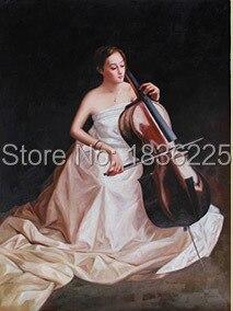 Handmade pittura a olio bella ragazza Cinese con strumento musicale violoncello musica pittura a olio per la decorazione soggiorno