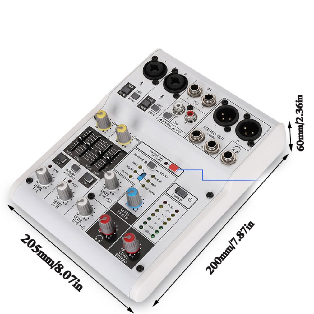 8-Channel Sound Card Digital Audio Mixer Mixing Console Built-in Support Powered With Power Adapter USB Cables Guitar parts цена и фото