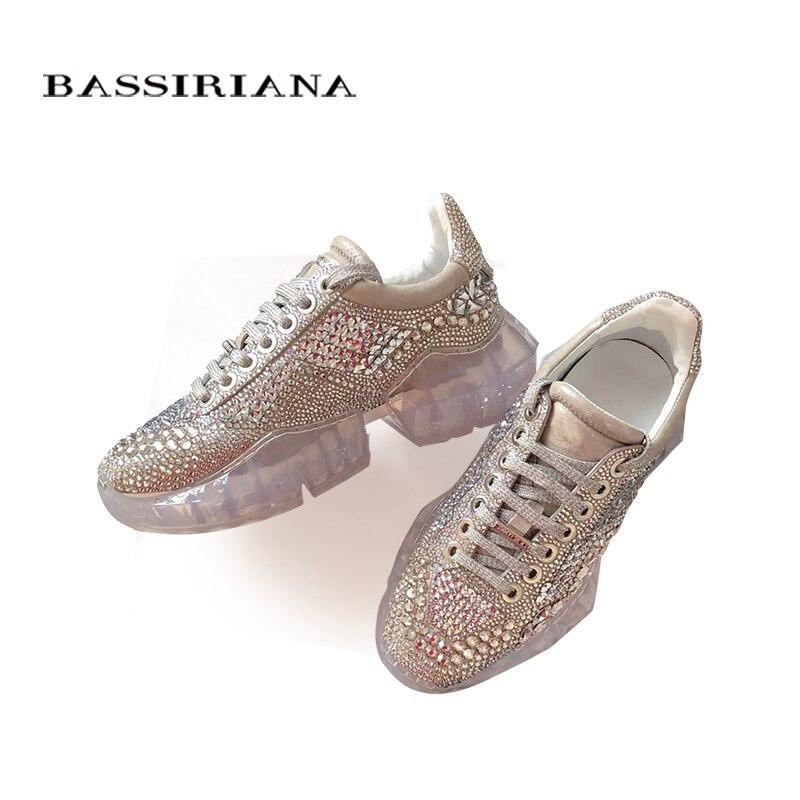 d585fcf2 Diamante Pesado Moda Bassiriana Zapatos Mujer Cuero Brillo 2019 Primavera  Natural White amarillo De Color Fondo Nuevos OuTXPZwki