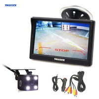 SMALUCK 5 inch Car Monitor Waterproof Reverse LED Night Vision Color Rear View Car Camera for Parking Assistance System