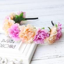 Flower  hairband of wild flowers headdress festival ceremony the bride Wedding Garland Flower Crown Head Band