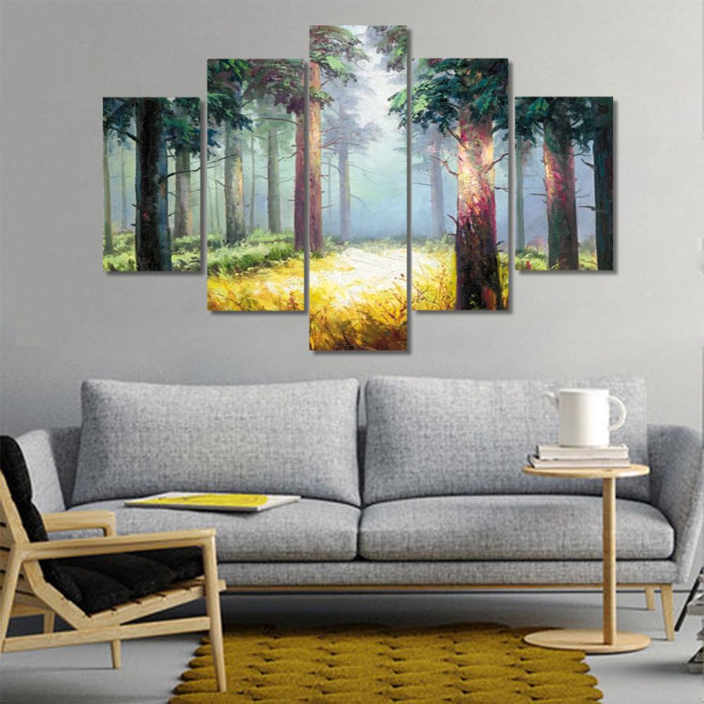 Unframed 5 HD Canvas Prints Forest Giclee Wall Decor Modular Picture Prints Wall Pictures For Living Room Wall Art Decoration