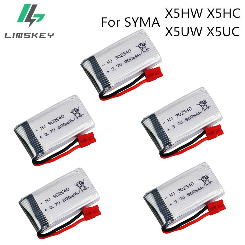 5pcs/set 3.7V 800mah Battery 1S For Syma X5HW X5HC X5UW X5UC RC Quadcopter Spare Parts 3.7 V Battery RC Camera Drone Accessories image