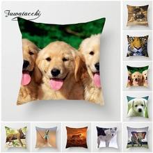 Fuwatacchi Animal Cushion Cover Cute Dog Tiger Giraffe Throw Pillow Cover For Car Home Sofa Living Room Decorative Pillowcase цены
