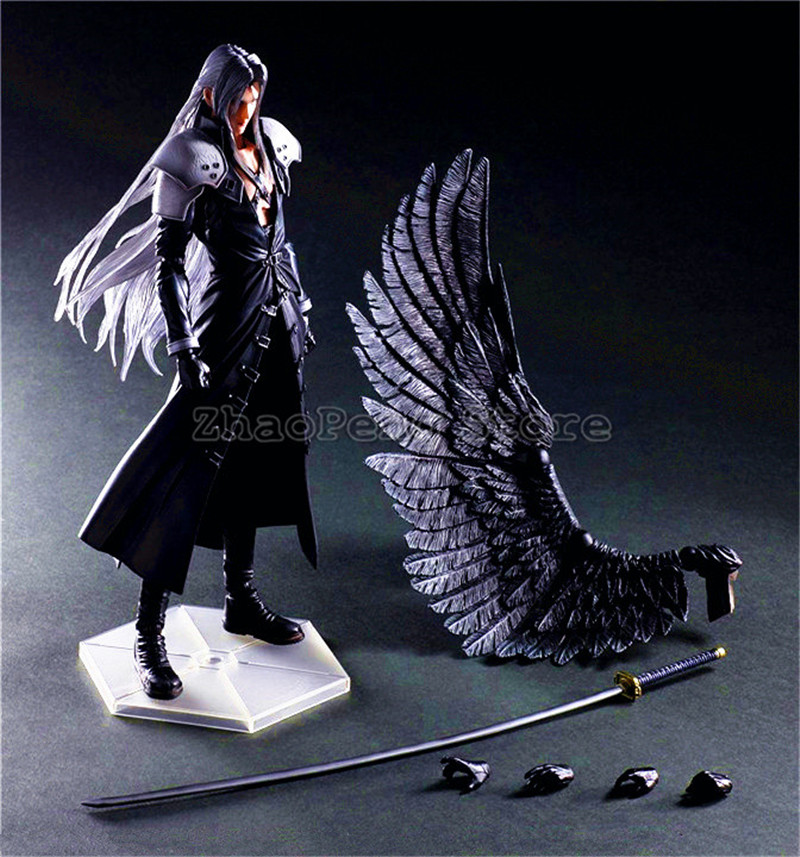 29 CM PLAY Arts Kai Final Fantasy VII 7 Sephiroth Action Figure PVC Collectible Model Toy B92 anime folding wallet final fantasy vii cloud strife sephiroth high quality short pu purse free shipping