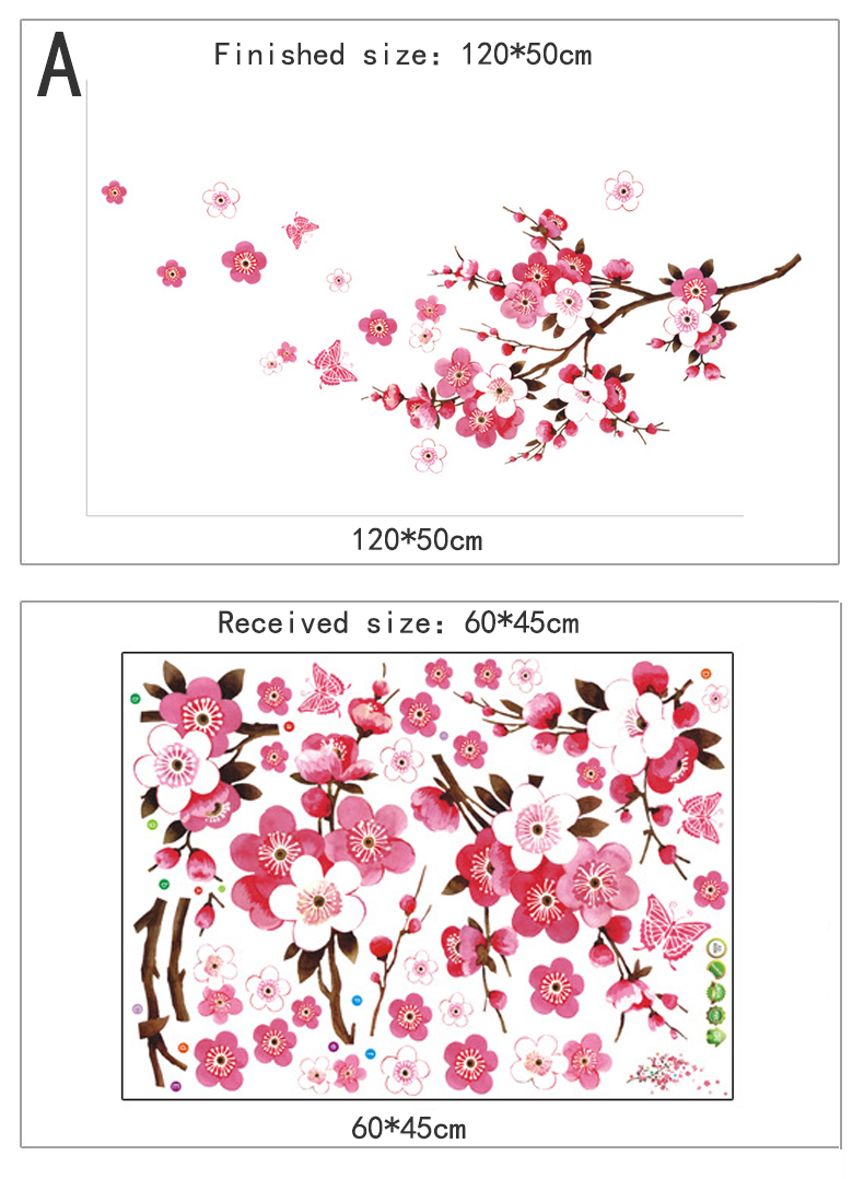 Beautiful Flower Cherry Blossoms Wall Stickers Home Decor