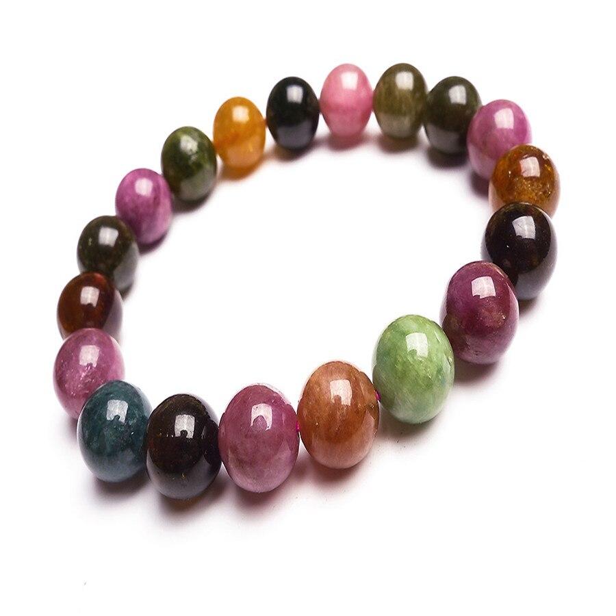 10.5mm Natural Mix Colors Tourmaline Gem Stone Round Bead Bracelets For Women Stretch Charm Bracelet Femme10.5mm Natural Mix Colors Tourmaline Gem Stone Round Bead Bracelets For Women Stretch Charm Bracelet Femme