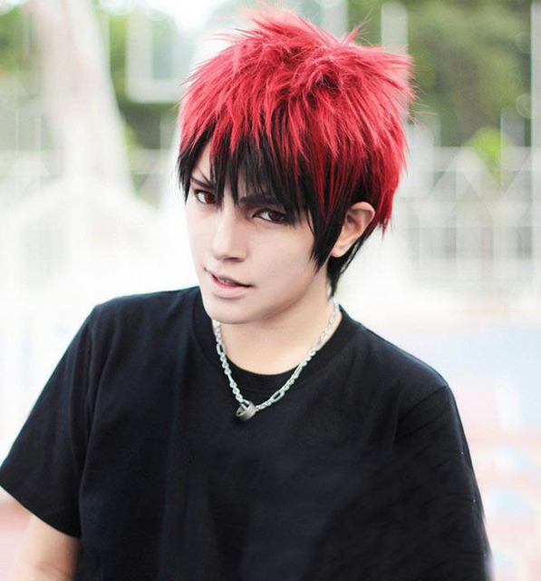 New fashion short hair wig men Wigs Synthetic short mens ombre red black wig  male cosplay anime wig 0cdeb6ed0bf3