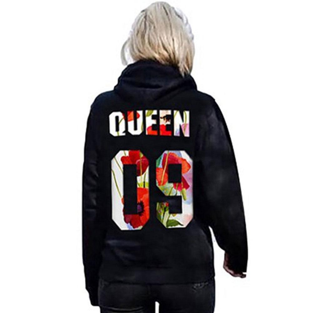 KING QUEEN Print Lovers Pullovers Plus Size S-5XL Women Men Unisex Hoodies Harajuku Black Hoodies Punk Sweatshirt