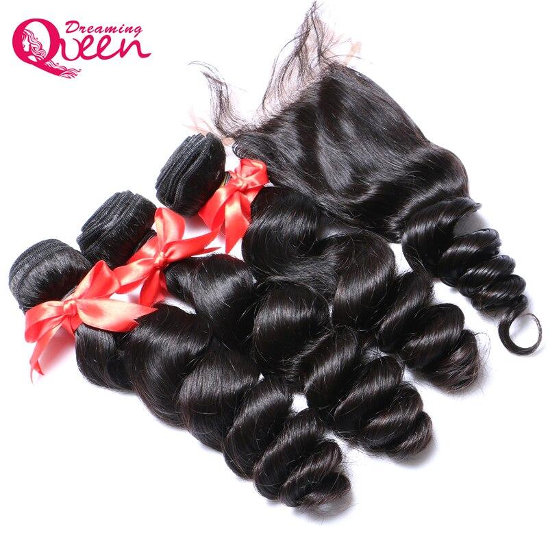 Brazil Loose Wave Human Hair 3 kötegek 4x4-es csipkés varrás a - Emberi haj (fekete)