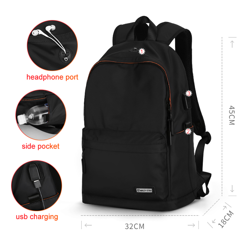 Mazzy Star Waterproof Backpack Men Casual Daypacks USB Charge Laptop Backpack Fits 15.6in Fashion Schoolbag Mochila Hombre 8018