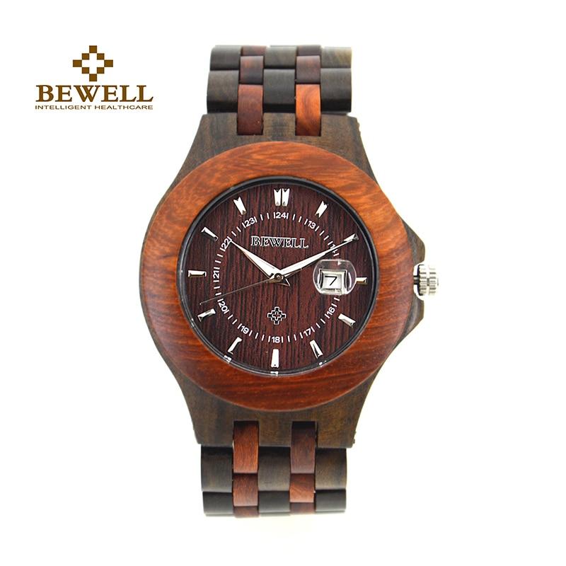 BEWELL Top Luxe Merk Heren Houten Horloges Heren Waterdicht quartz - Herenhorloges - Foto 2