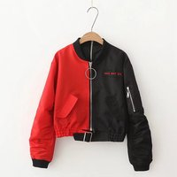 Jellpe Women 2017 Fashion Casual Long Sleeve Autumn Streetwear Black Red Patchwork Short Bomber Outerwear Jacket
