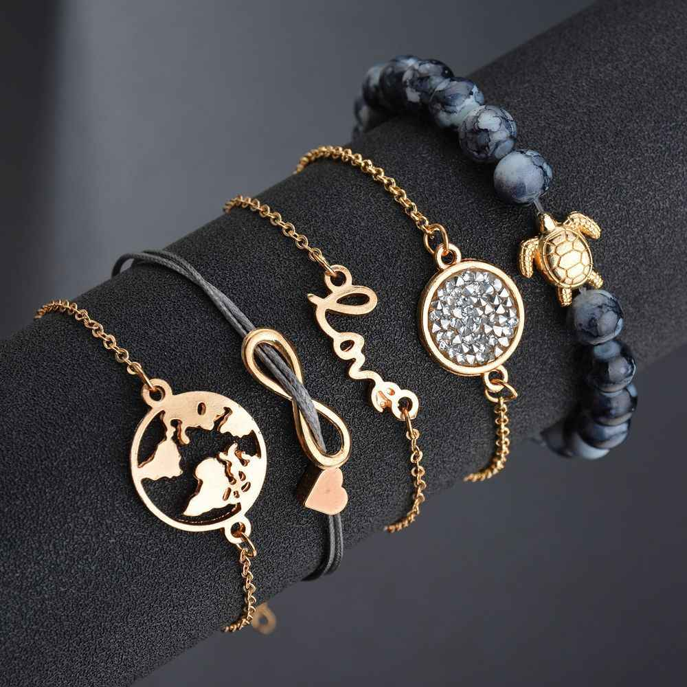 Bohemian Turtle Charm Bracelets Bangles For Women Fashion Gold Color Strand Bracelets Sets Jewelry Party Gifts