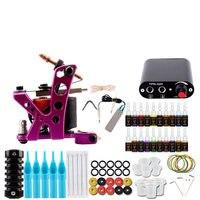 Complete Tattoo Gun Set Permanent Pigment Kit Power Supplies Tattoo Needles Kit Grips Makeup Set Tools Body Art Tattoo Kit