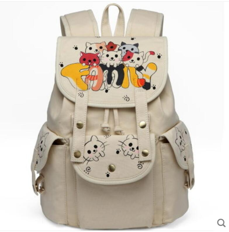 Backpack men and women canvas backpack Korean high school students Harajuku Lap top cute fashion hand-painted backpack 710 39 99usd 9 colours 2017 wholesale korean fashion pu zipper primary secondary school students backpack five pieces 2017121401