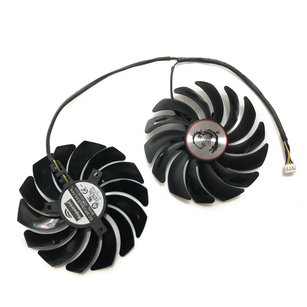 2pcs/lot cooler Fans RX580 RX480 Video Card cooling fan For Radeon RX 480 MSI RX 580 asic bitcoin mine GPU Graphics Card Cooling