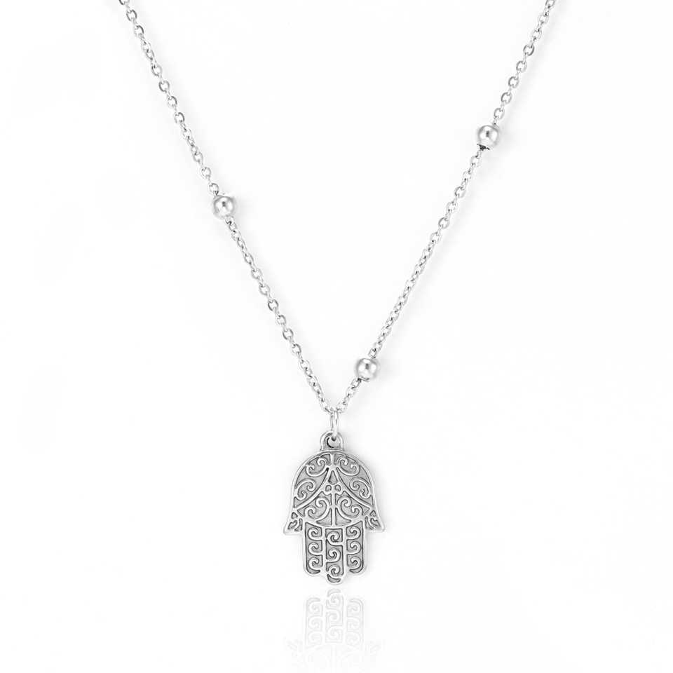 Stainless Steel Silver Chain Hamsa Hand Pendant Necklace Love Heart Lucky Owl Animal Charm Necklace 2018 Female Bijoux Wholesale