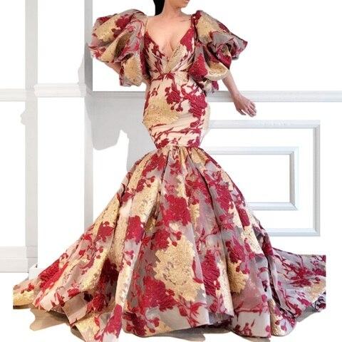Vestidos de Baile Vestido de Celebridade da Moda Arábia com Apliques de Ouro e Borgonha Decote em v Estilo Sereia Mais Novo Sexy Personalizado 2020