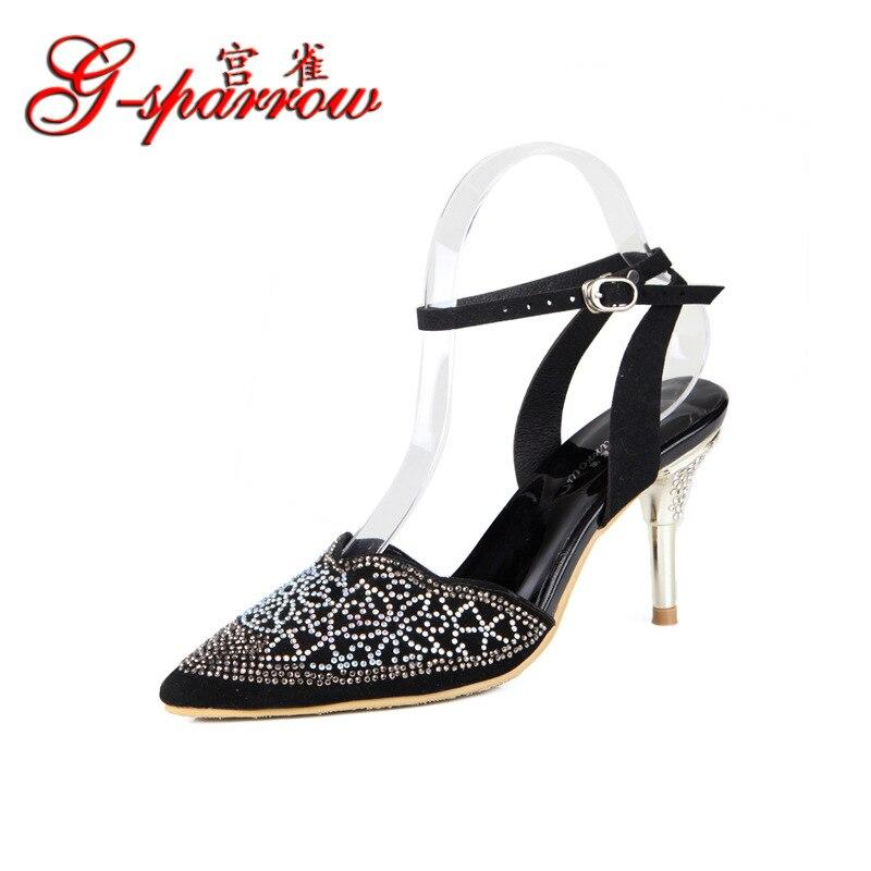 De Zapatos Boda Alta Coreano sandalias Con Cuero Hebilla Verano Nuevo 2018 Tacón Imitación G sparrow Diamante Negro Diamantes wqUXx8