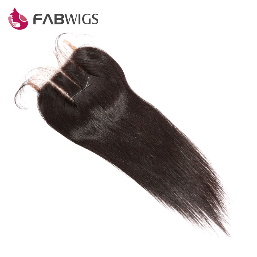 Fabwigs 5x5 Three Part Lace Closure Bleached Knots Brazilian Silky Straight font b Human b font