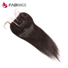 Fabwigs 5×5 Three Part Lace Closure Bleached Knots Brazilian Silky Straight Human Hair Closure Remy Hair