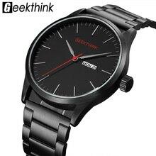 Военная Униформа черный сталь повседневное японские кварцевые часы человек мода бизнес Элитный бренд Мужские часы Мужской Аналоговые с указанием даты наручные ч