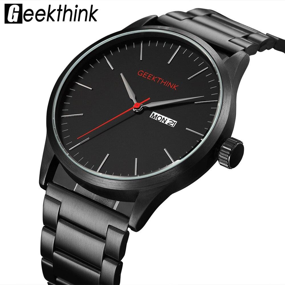 Reloj de pulsera de cuarzo japonés informal de acero negro militar de marca de lujo para hombre de moda