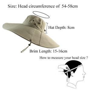 Image 5 - 16cm Long Wide Brim Sun Hat Breathable Safari Hat Men Women Boonie Hat Summer UV Protection Cap Hiking Fishing Bucket Hat Beach