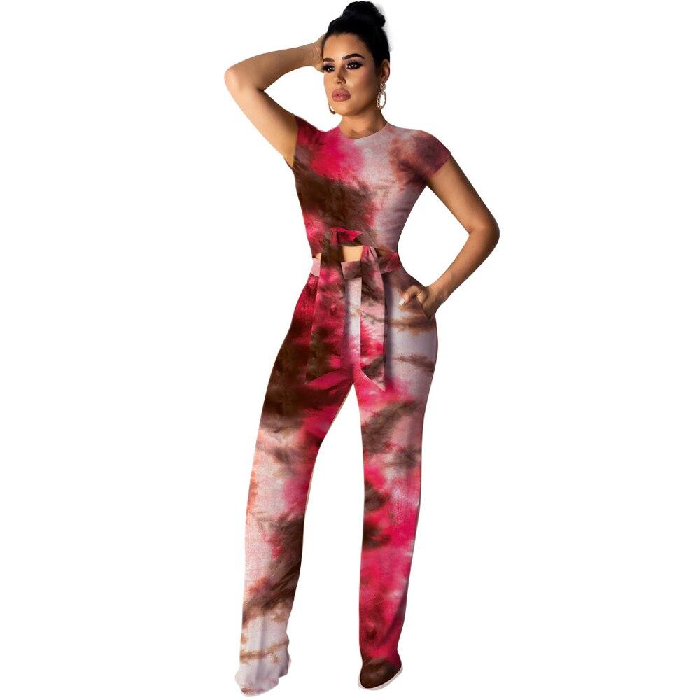 Women Short Sleeve Full-length Wide Leg Jumpsuit Two Piece Set Summer Elegant Tie Dye Rainbow Casual Party Overalls Female