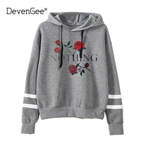 DevenGee Harajuku Japanese Kawaii Hoodie Women Sweatshirt NOTHING Letter Print Rose Floral Hooded Pullover Tops Sudaderas