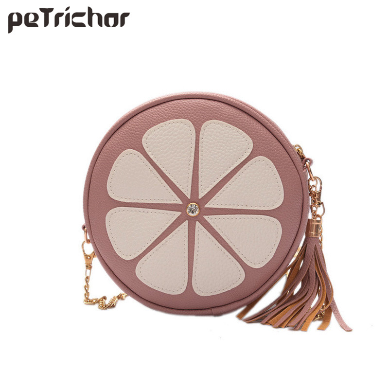 Small Women Bags Round Girl Messenger Bag Brand Leather Shoulder&Crossbody Bags Tassel Chain Lady Handbags Zipper Floar Circular 2017 top handle women tassel chain small bags mini lady fashion round shoulder bag handbag pu leather sling crossbody bag female