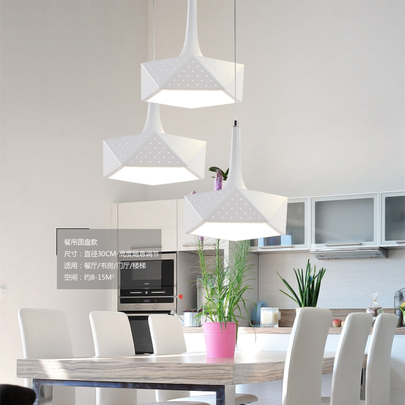 Moderne led hanglampen voor keuken bar woonkamer, creatieve led hanglamp iron + PVC schaduw ronde/vierkante/veelvlak - 2