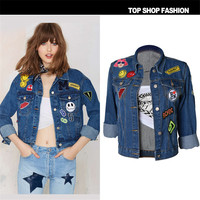 Autumn And Winter Women Denim Jacket 2016 Vintage Harajuku Oversize Loose Female Jeans Coat Solid Slim