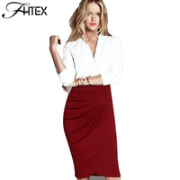 Business Pencil Skirt For Women New Fashion Solid Color Ruched Business Office Wear To Work High