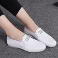 Zapatos 2017 de la Marca de Los Planos de Los Holgazanes Casuales de Cuero Femenina Zapatos de Mujer De Moda Blanco Cómodo Zapatos de Las Señoras zapatos de Los Planos F2018