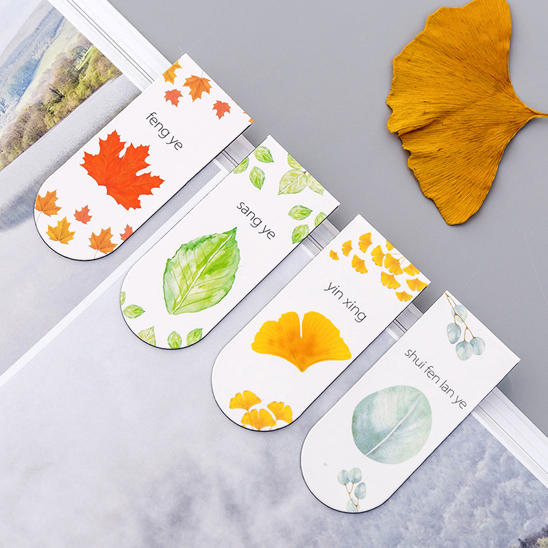 (4 Pieces/lot) Simple Plant Magnet Bookmark Student Autumn Leaf Metal Magnetic Book Holder Kawaii Stationery