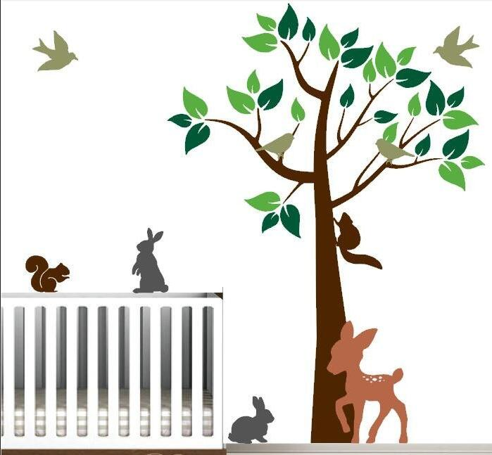 Kids Room Forest Wall <font><b>Decal</b></font> Set Includes Deer Squirrels Bunnies Birds Tree Baby Nursery Vinyl Wall Stickers Living Room ZA801