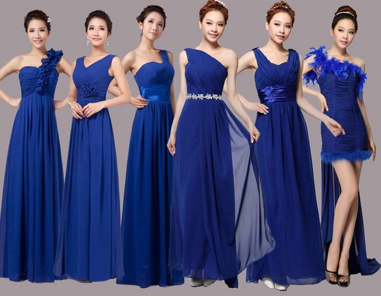 Navy Blue Slim Bridesmaid Dress For Wedding Double Shoulder Long Design Bridal Party Formal Size In Dresses From
