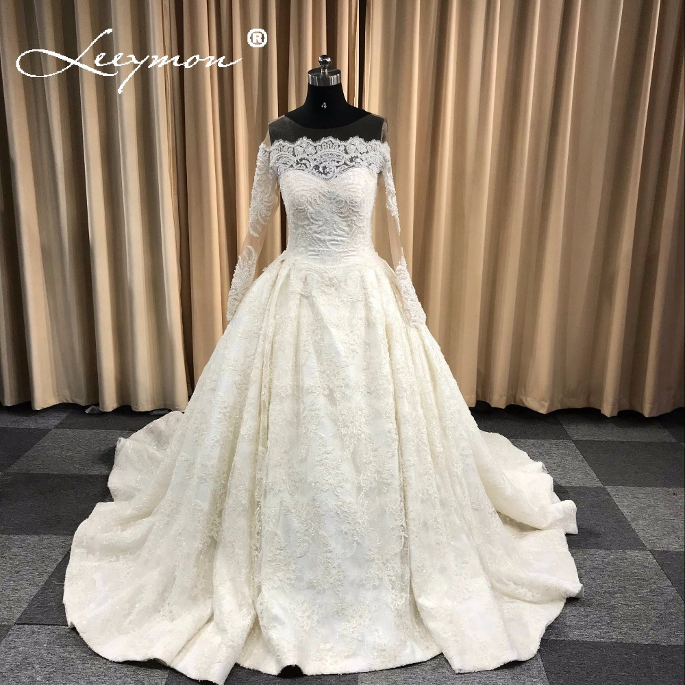 2019 New Luxury Lace Beaded Wedding Dress Long Bridal Ball