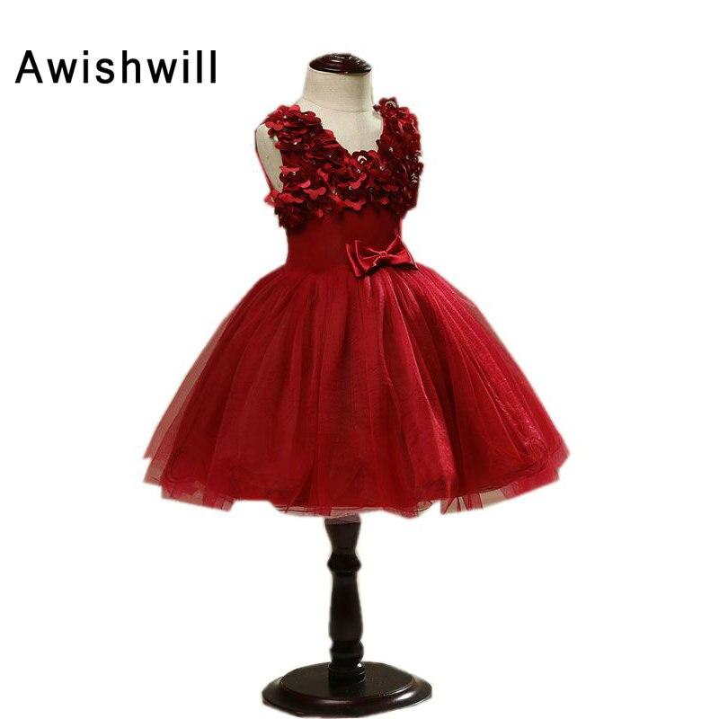 V-izrez Lijepa vino crvena boja cvijet djevojka haljine s luk lopta - Vjenčanje večernje haljine - Foto 2