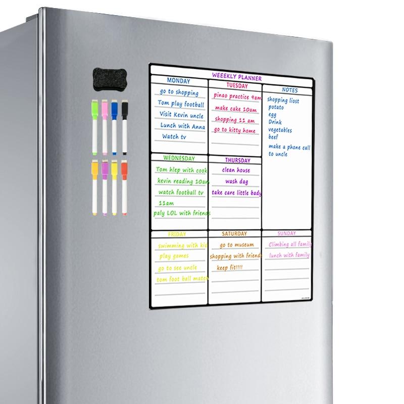 A3 Magnetic Whiteboard Sheet For Kitchen Fridge Multipurpose Fridge Weekly White Board Calendar For Menu Planning With 8 Pen