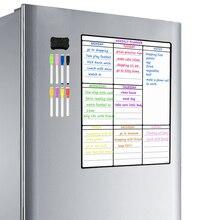 Tablica magnetyczna arkusz na lodówka do kuchni uniwersalna lodówka tygodniowy kalendarz na białą tablicę do planowania Menu z 8 piórami